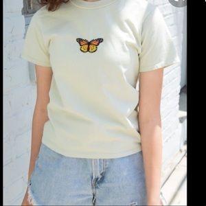 Brandy Melville Helen Butterfly Top in light green